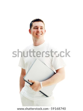 Young happy men or student with laptop, isolated on the white background