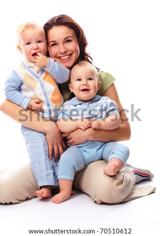 Young happy mother embrace her two boys, isolated over white - stock photo