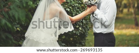Young happy newlyweds on wedding day together.  - stock photo