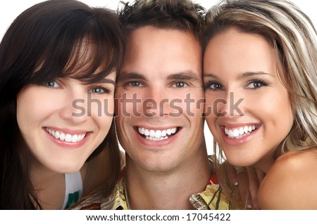 Young happy  people. Isolated over white background - stock photo