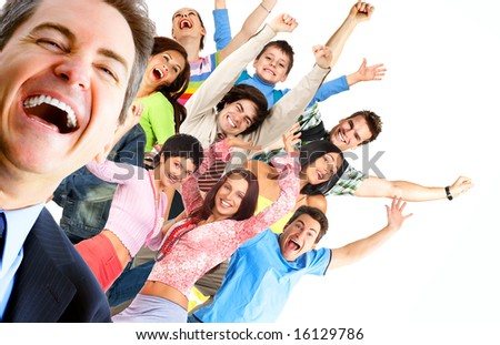 Young happy  people. Isolated ver white background - stock photo
