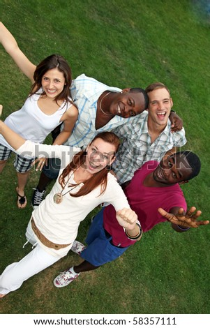 young, happy people of various nationalities have fun - stock photo