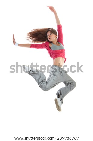 Young happy pretty modern slim hip-hop style woman dancer dancing jumping isolated on a white studio background  - stock photo
