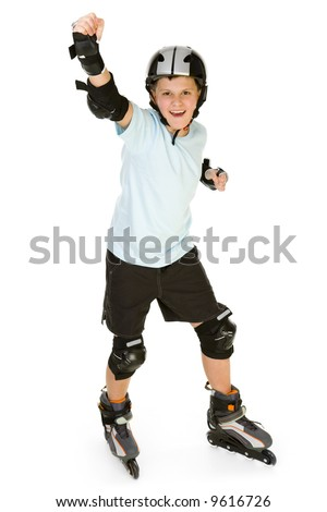 Young, happy roller boy in protection kit standing with hand up and looking at camera. Front view. Isolated on white background. - stock photo