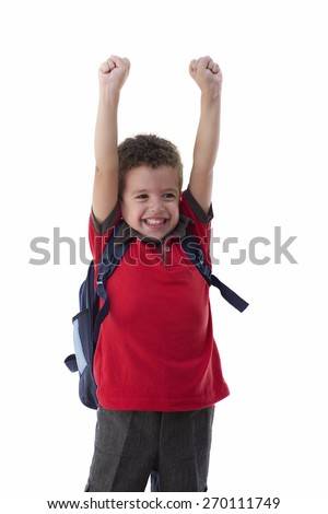 Young Happy Schoolboy Isolated on White Background - stock photo