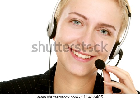 Young happy  service operator girl in headset