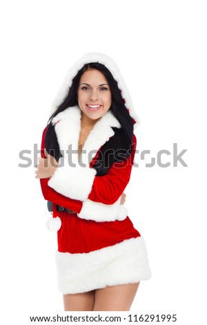 young happy smile woman wear Santa Clause costume, attractive christmas new year party girl looking at camera, isolated over white background - stock photo