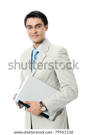 Young happy smiling business man with laptop, isolated on white background