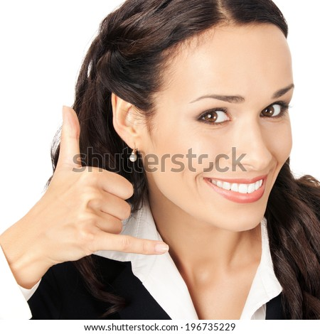Young happy smiling business woman with call me gesture, isolated on white background - stock photo