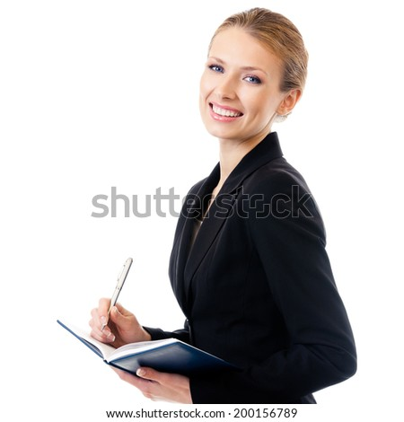 Young happy smiling businesswoman writing, isolated on white background - stock photo