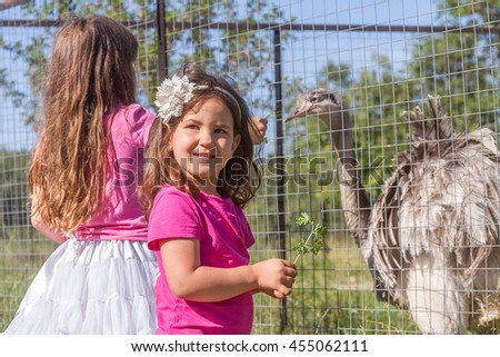 young happy smiling child girls feeding emu ostrich on bird farm, outdoor portrait - stock photo