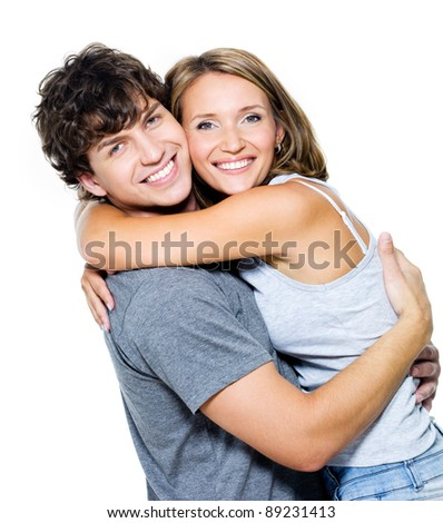 Young happy smiling couple - isolated