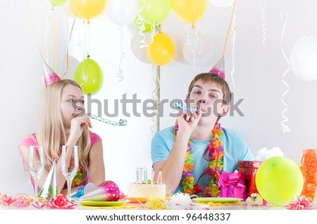 young happy smiling couples at birthday - stock photo