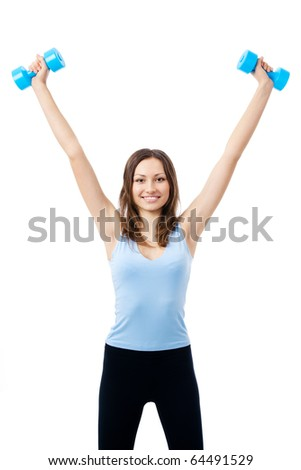 Young happy smiling woman in sportswear, doing fitness exercise with dumbbells, isolated on white background