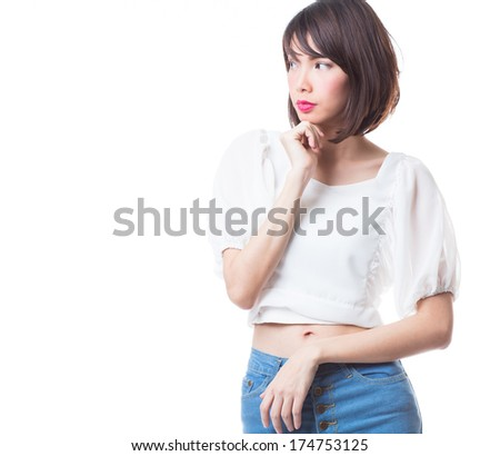 Young happy smiling woman on white background - stock photo