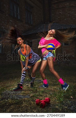 Young happy sport women working out - stock photo