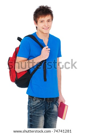young happy student holding bag and book - stock photo