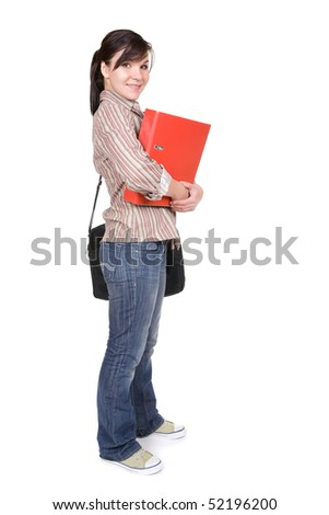 young happy student. over white background