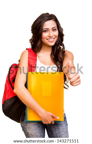 Young happy student showing thumbs up - stock photo