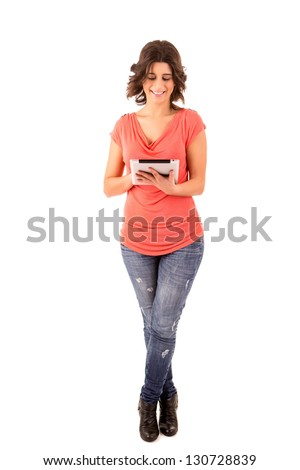 Young  happy student working with a new digital tablet computer, isolated - stock photo