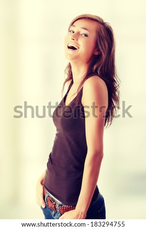 Young happy woman. - stock photo