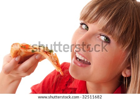 Young happy woman eating pizza, isolated on white - stock photo