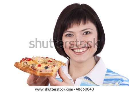Young happy woman eating pizza, isolated on white. portrait of young woman holding piece of pizza. - stock photo
