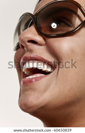 young happy woman face - stock photo