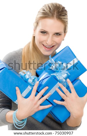 Young happy woman hold blue present with ribbon