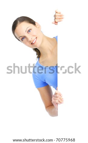 Young happy woman holding a white placard - stock photo