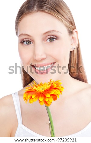 Young happy woman holding gerbera flower isolated on white background. - stock photo