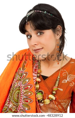 young happy woman in a hindu dress, isolated on white