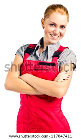 Young happy woman in red overalls , isolated on white