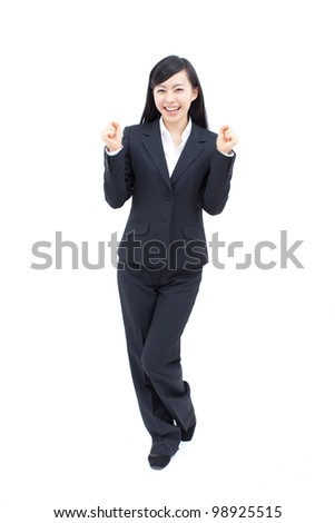 young happy woman isolated on white background.