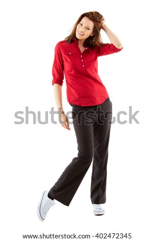 Young happy woman isolated over white background, full body shoot - stock photo