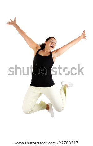 Young happy woman jumping in the air , isolated on white background - stock photo