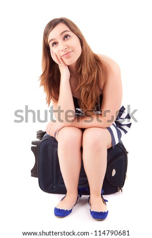 Young happy woman leaving for vacations