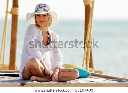 young happy woman outdoor in summer - stock photo