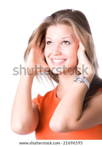 Young happy woman portrait. Isolated on white. - stock photo