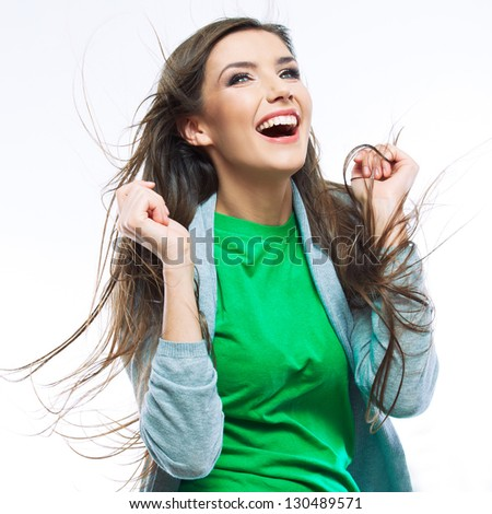 Young happy woman portrait . isolated on white background