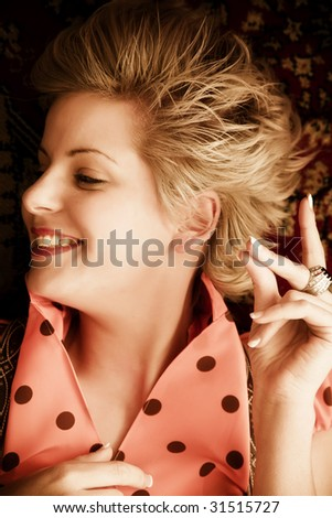 Young happy woman snapping with fingers. - stock photo