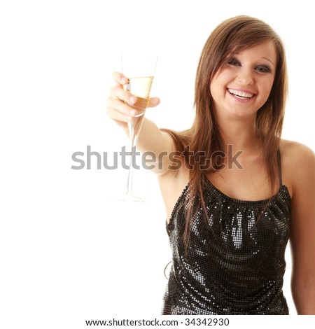 Young happy woman with champagne over white background