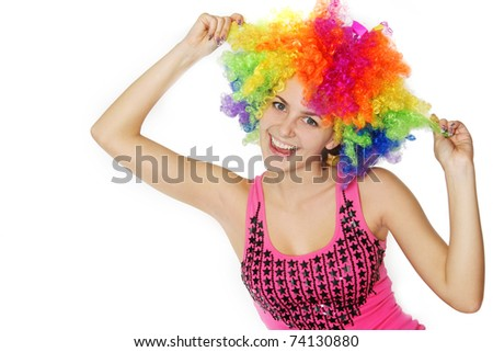 young happy woman with colorful hair over white