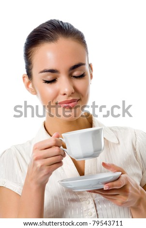 Young happy woman with cup of coffee, isolated on white background