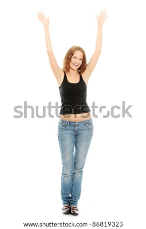 Young happy woman with hands up, isolated on white
