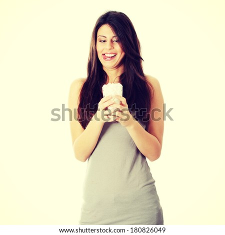 Young happy woman with lot of cugar