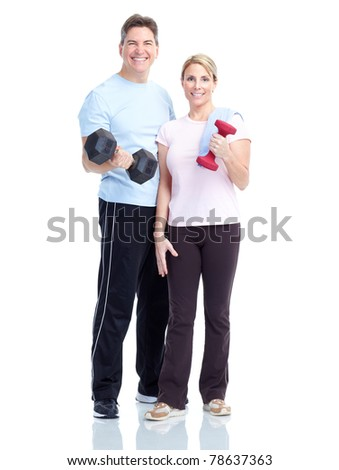 Young healthy fitness couple. Over white background - stock photo