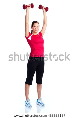 Young healthy fitness woman. Over white background. - stock photo