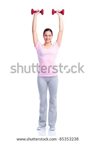 Young healthy fitness woman. Over white background.