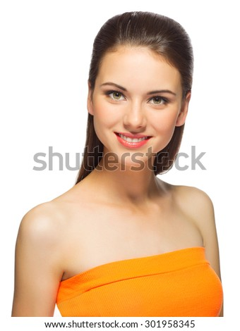 Young healthy girl isolated on white - stock photo